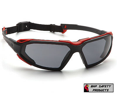 Pyramex Highlander Safety Glasses Gray Anti-fog Lens Redblack Frame Sbr5020dt