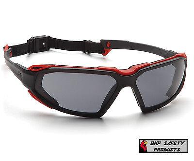 SAFETY GLASSES GRAY ANTI-FOG LENS RED/BLACK FRAME PYRAMEX HIGHLANDER SBR5020DT