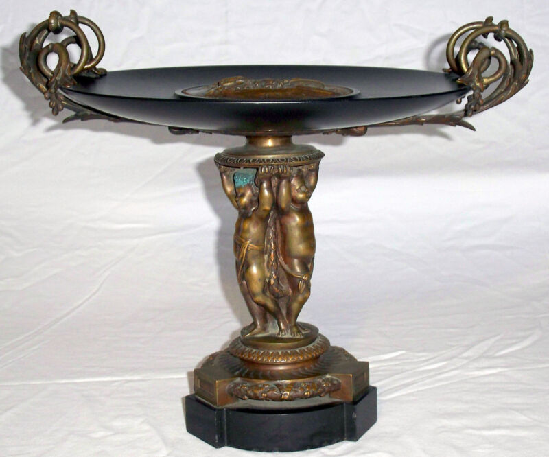 ANTIQUE LOUIS XVI STYLE PATINATED BRONZE TAZZA