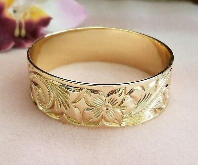 25mm Gold Hawaiian Heirloom Engraved Bracelet Evaluate 8 Made in Hawaii