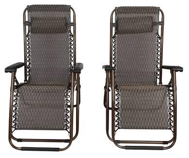 2 x Bronze Lounge Chairs - Patio Outdoor Garden Yard Beach Carava