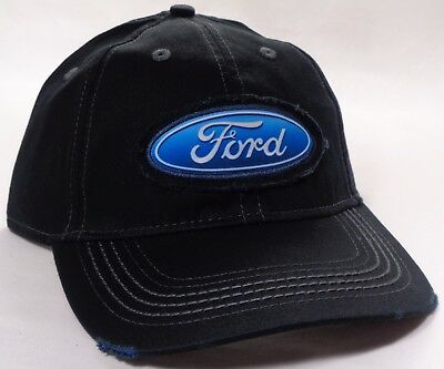 Hat Cap Licensed Ford Oval Patch Distressed Black OC ()