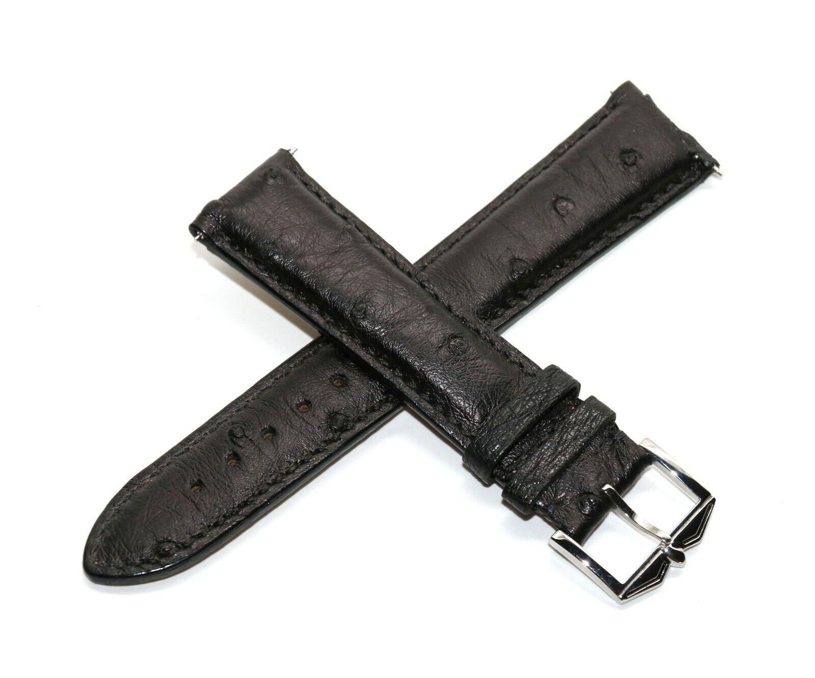 Rotary 21 mm Echt Straußenleder Uhrenarmband Schwarz mit Edelstahl Dornschliesse