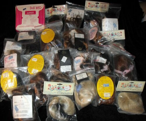 Lot of 25 New Doll Wigs Assorted Colors Sizes Kemper IMSCO Dollspart