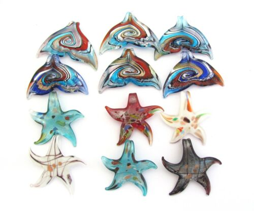 Lot 12 Dichroic Whales Tail Starfish Art Fused Glass Handmade Pendant Charms