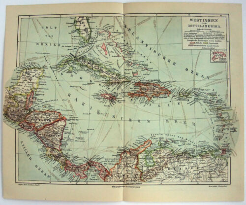West Indies - Original 1909 Map by Meyers. Germany Antique