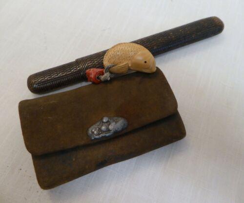 Vintage Japanese Kiseru Pipe Case & Tobacco Pouch, Ojime, Netsuke, Sagemono