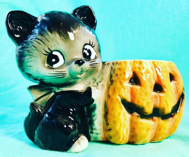 🎃 HAPPY HALLOWEEN! Cute Black Cat Pumpkin Planter Vtg Candle Holder Retro Relpo
