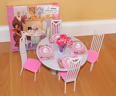 GLORIA DOLLHOUSE FURNITURE SIZE 4-Chairs ROUND TABLE DINING ROOM SET FOR Dolls