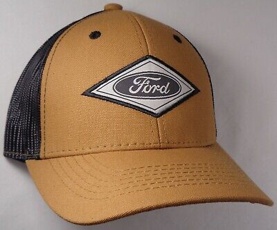 Hat Cap Licensed Ford Oval Diamond Patch Black Mesh Khaki Brown OC ()