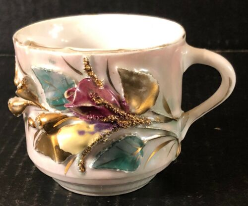 Antique MW Co.(Mitchell Woodbury Company) Mustache Cup, Applied Flowers Germany