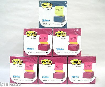 "Lot of 6 Post It Pop Up Desk Grip Dispensers, 3"" X 3"", 1200 Notes, 5 Pink 1 Blue on Rummage"