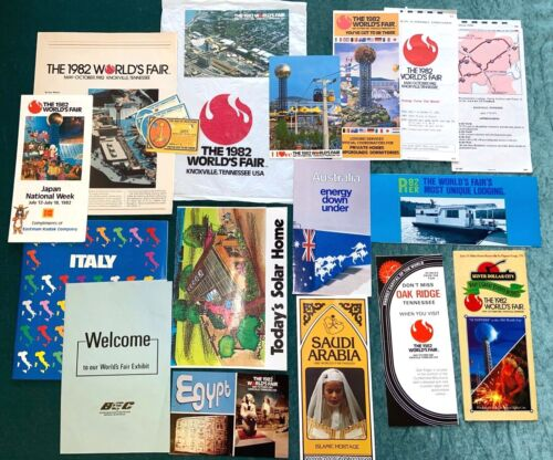 1982 World's Fair Souvenir Lot Pamphlets Tickets Postcards