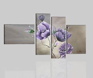 Quadri moderni astratti dipinti a mano su tela viola fiori for Quadri moderni per arredamento soggiorno