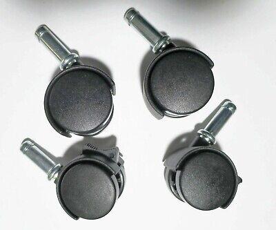 Swivel Caster Wheels Black Nylon Press In Friction Grip Stem 4 Pack 2 Wlock