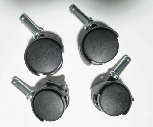 Swivel Caster Wheels Black Nylon Press In Friction Grip Stem 4 Pack (2 w/lock)