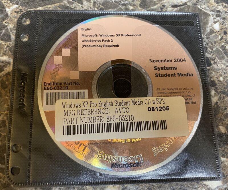 Microsoft Windows XP Pro SP2  Service Pack Student Media 2004 Professional Used