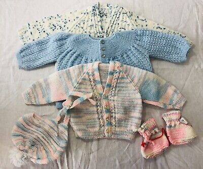 Lot Of Handknit Vintage Baby Clothes 3 Sweaters Booties Hat 0-3 Months Boy