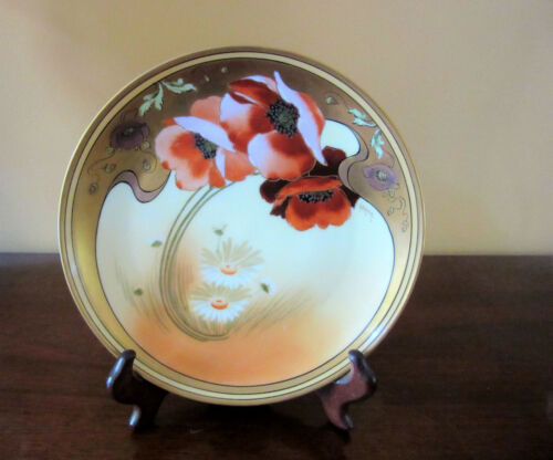 Vintage Hand-Painted Pickard Poppy & Daisy Plate Signed by Artist, Cat Rescue