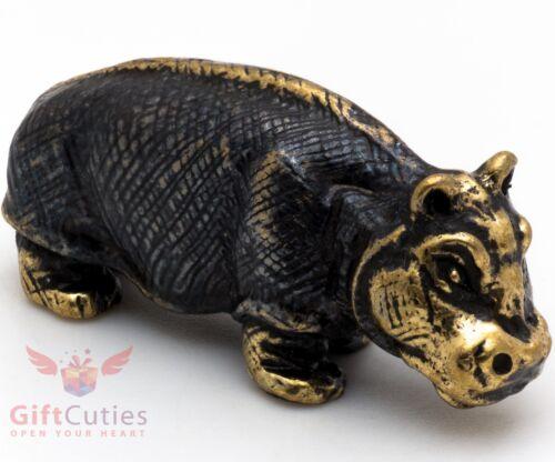 Solid Brass Figurine baby Hippopotamus Hippo Behemoth talisman IronWork