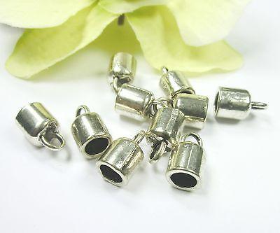 10 Endkappen Farbe silber für Bänder bis ca. 5,5mm #S361