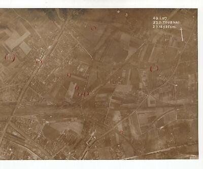 Tournai Belgium - WW1 1918 Aerial Photo - Bomb Craters Marked #5