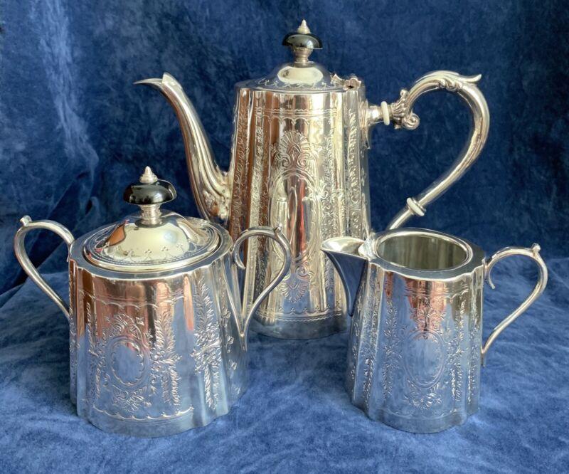 Vintage Barker Ellis Silver Plate 3 piece Tea/Coffee Set