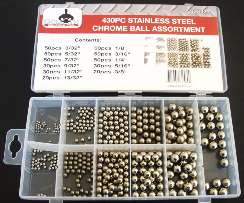 430pc GOLIATH INDUSTRIAL STAINLESS STEEL CHROME BALLS BALL BEARING ASSORTMENT
