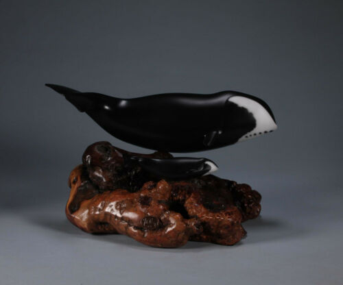 BOWHEAD WHALE & calf by JOHN PERRY PAINTED sculpture New direct from the Studio