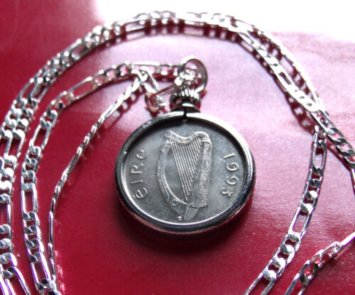 "Year 1993 Irish Lucky Coin Pendant on a 30"" Sterling Silver Chain."