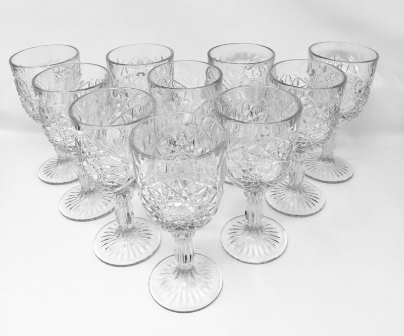 (4) Libbey Hobstar clear goblets; Clear Pressed Glass