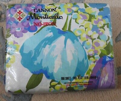 vintage mod Cannon Monticello SPRING GARDEN full flat SHEET in original package