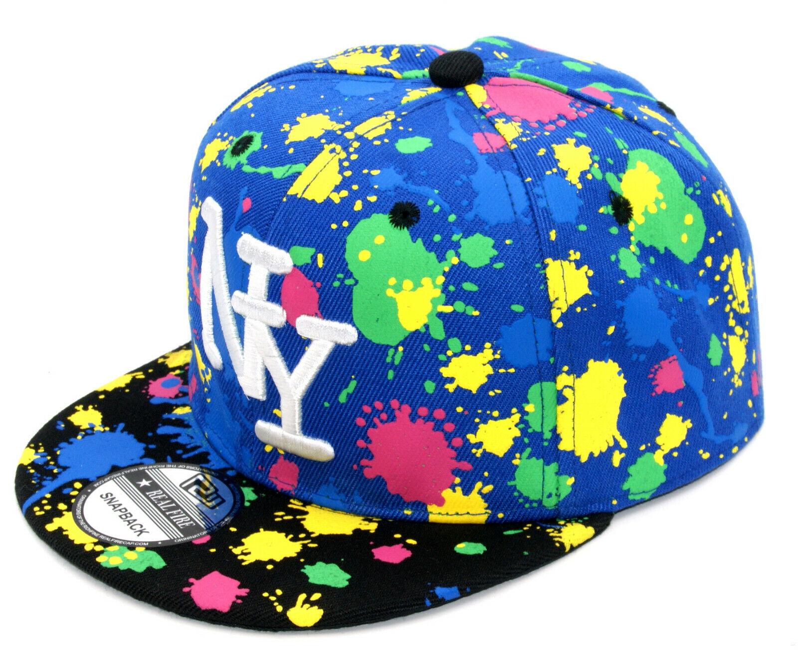 Snapback Cappy Kinder Kids Junge Cap Basecap Kappe Schirmmütze NY Klekse blau