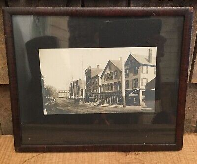 Framed Antique Early 1900s Photograph Of Portland Maine Store Fronts Fishmarket (Frame Store Portland)