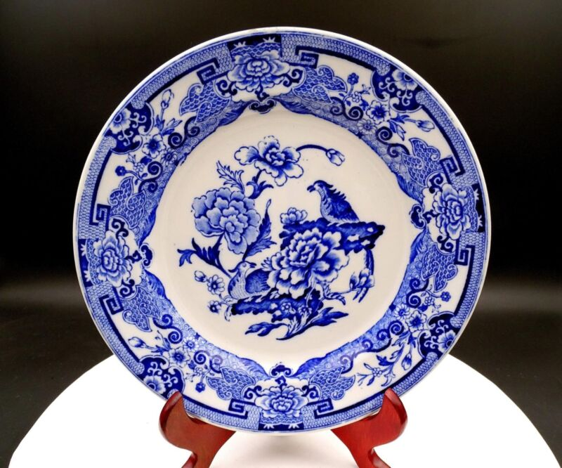 """FLOW BLUE ENGLAND PORCELAIN BIRDS AND CHRYSANTHEMUMS 9 1/2"""" PLATE"""