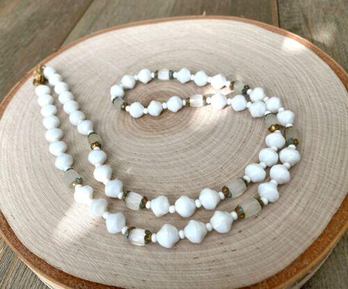 Necklace White Milk Glass Beads Moon Glow Selenite Vintage