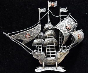 Vintage Portuguese .833 Silver Filigree Galleon Ship Signed