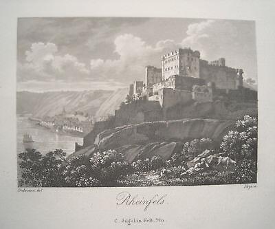 Burg Rheinfels Trechtingshausen St. Goar Rhein echter alter  Aquatintastich 1836