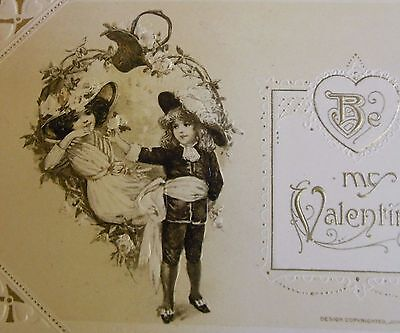 Mother & Young Boy Child ANTIQUE VINTAGE WINSCH VALENTINE'S DAY POSTCARD c. 1913