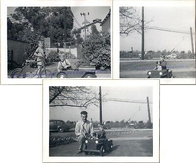 1940s Young Boys & Father Border Collie Dog WWII US Army Jeep Pedal Car Photos