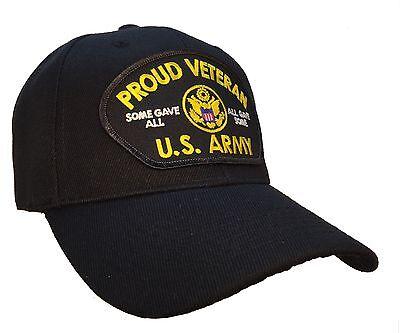 Proud Veteran Hat Black Ball Cap U.S. Army Veteran Vet Hat