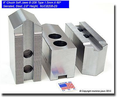 8 Steel Soft Jaws 1.5mm X 60 Serrated For B-208 Type Lathe Chucks 2.0 Ht