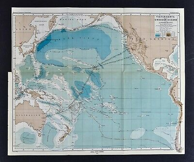 1877 Petermann Map Pacific Ocean Depth Hawaii Australia New Zealand Japan Island