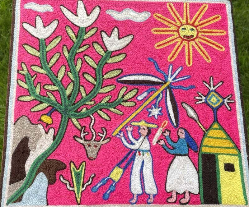 Vintage González Rios Huichol Indian Yarn Painting Mexican Folk Art