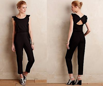 Anthropologie NWT Elevenses Elba Ruffled Jumpsuit w/ Cutout Back XL 16 $158