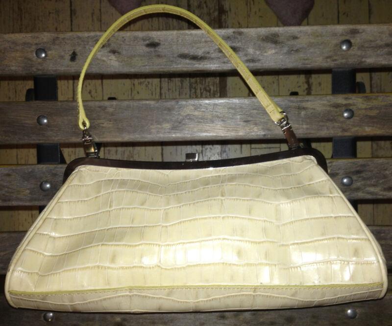 NWT $145 Vittadini Pale Yellow Faux Croc Leather Bag Baguette 12 x 6 x 2.5