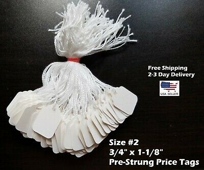 Size 2 Small Blank White Merchandise Price Tags W String Retail Jewelry Strung