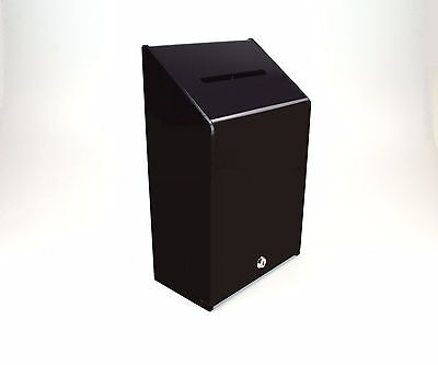 Collection Box Suggestion Box - Black Acrylic - Lockable - PDS9463 XBlack