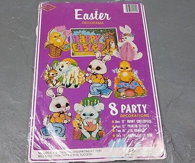 Vtg Beistle Easter cut outs NEW Rabbit Eggs Bunny Spring Decorations 70s/80s die - Easter Eggs Cut Outs