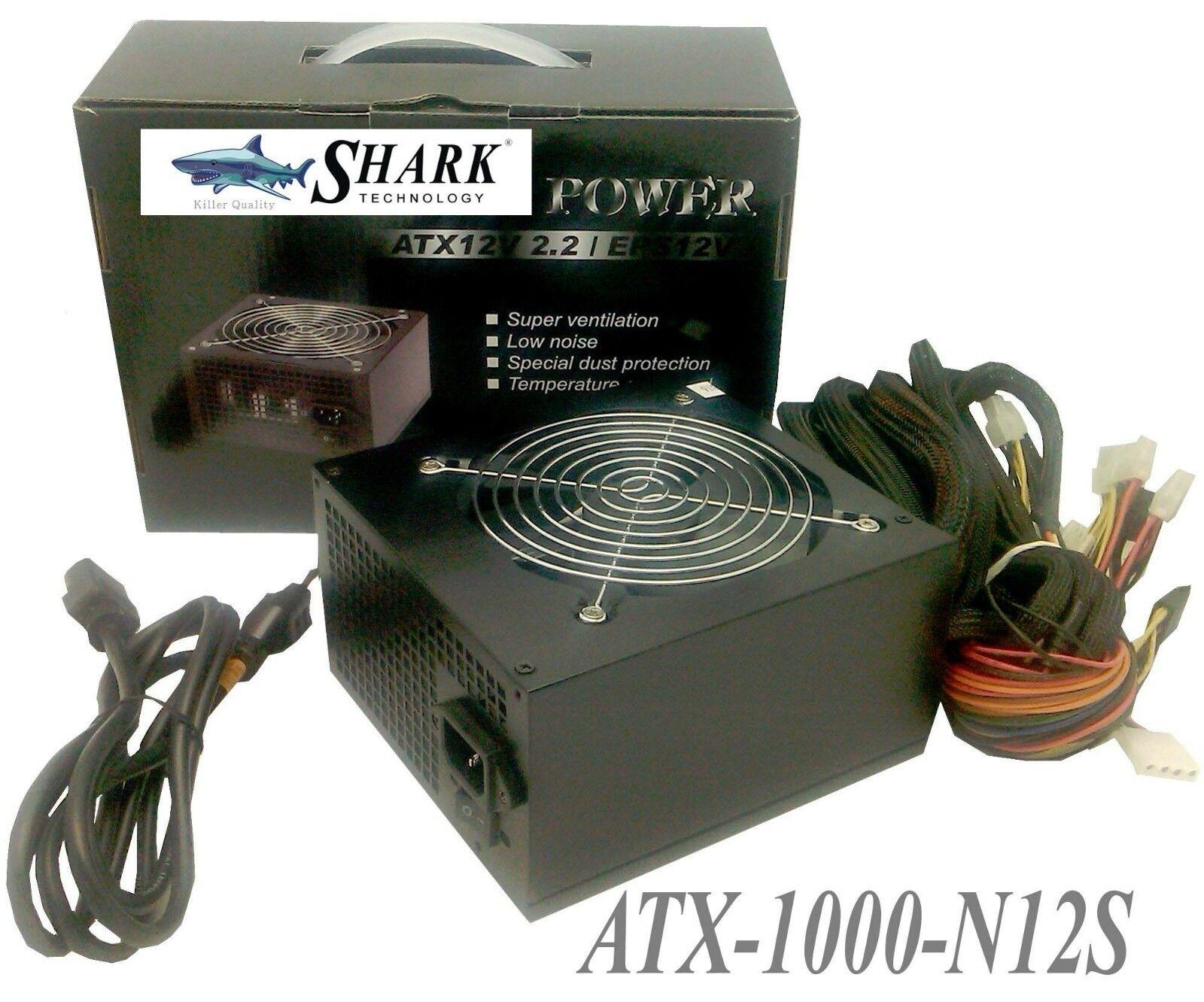 New Retail Black SHARK® 1000W ATX 12V 120mm Fan PSU PCI-E G